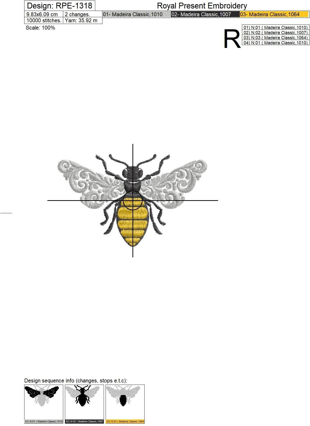 Дизайн машинной вышивки Орнаментальная Пчела - 2 размера