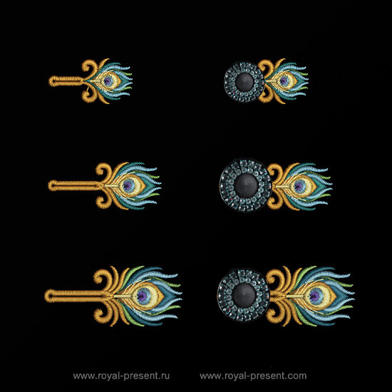 Дизайны машинной вышивки Пуговичные Петли Павлин RPE-1314-03