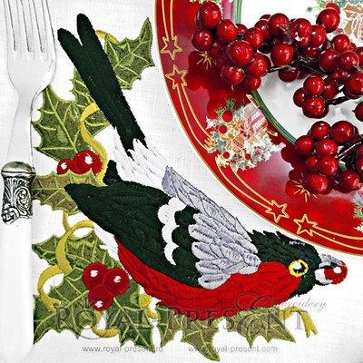 Дизайн машинной вышивки Снегирь с ягодами - 3 размера