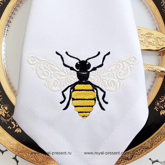 Дизайн машинной вышивки Орнаментальная Пчела - 2 размера RPE-1318