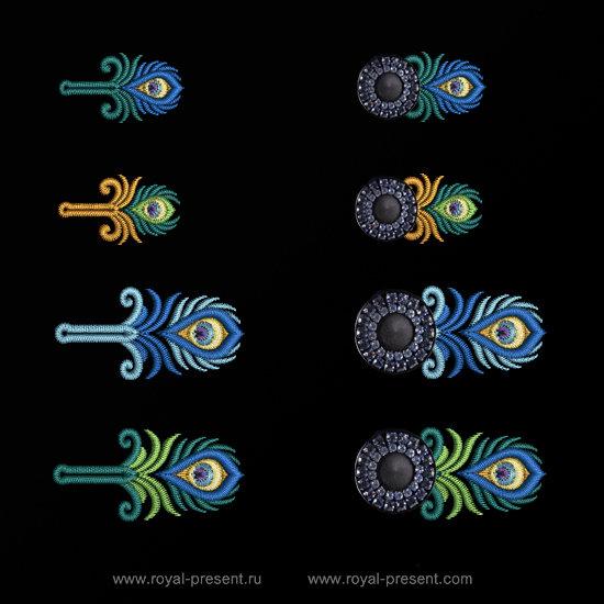 Дизайны машинной вышивки Прорези Павлин RPE-1314-04