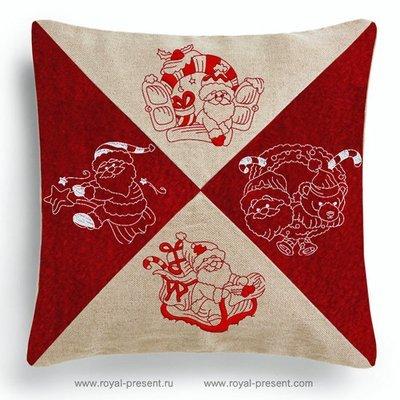 Коллекция дизайнов машинной вышивки Четыре Санты