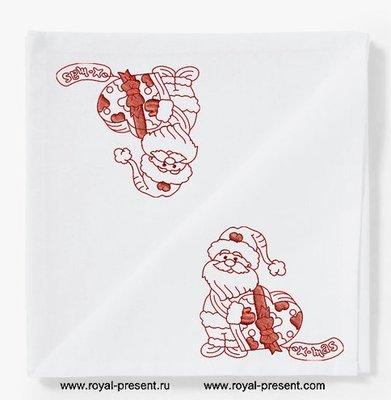 Дизайн машинной вышивки Санта с подарком