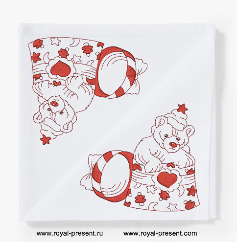 Дизайн машинной вышивки Новогодний мишка в коробке