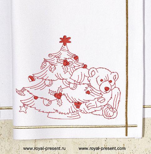 Дизайн машинной вышивки Новогодний мишка и елка