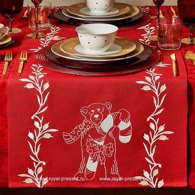 Дизайн машинной вышивки Новогодний мишка и леденец