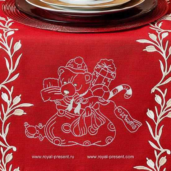 Новогодний мишка Дизайн машинной вышивки