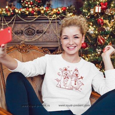 Дизайн машинной вышивки Новогодний мишка и Снеговик
