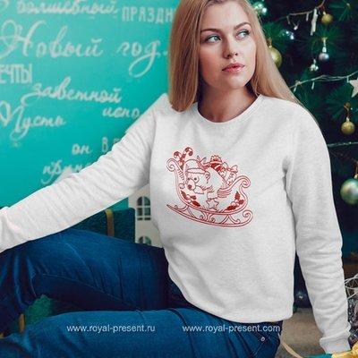 Дизайн машинной вышивки Новогодний мишка в повозке Деда Мороза