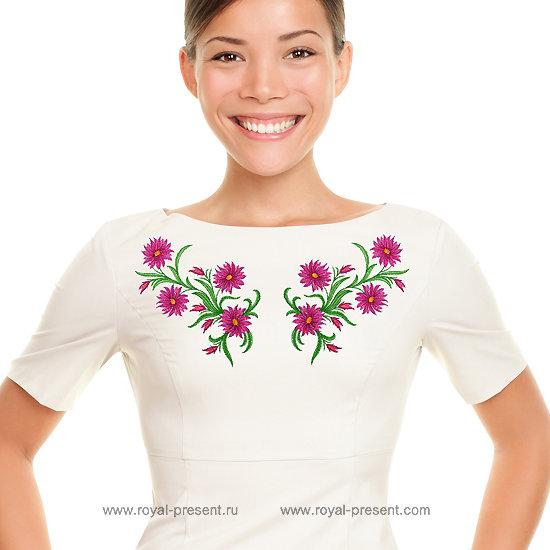 Дизайн для машинной вышивки Садовые цветы - 4 размера RPE-674
