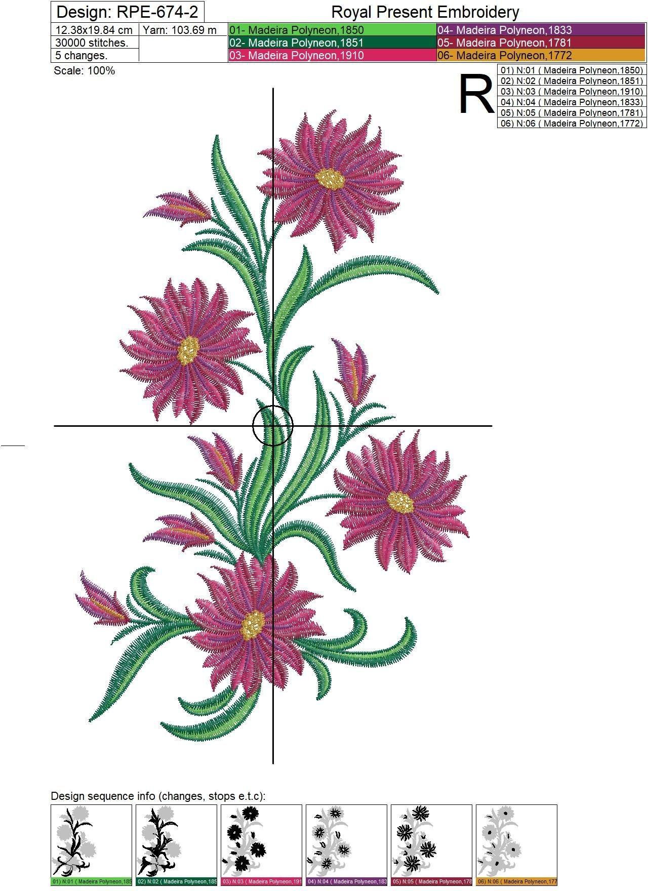 Дизайн для машинной вышивки Садовые цветы - 4 размера
