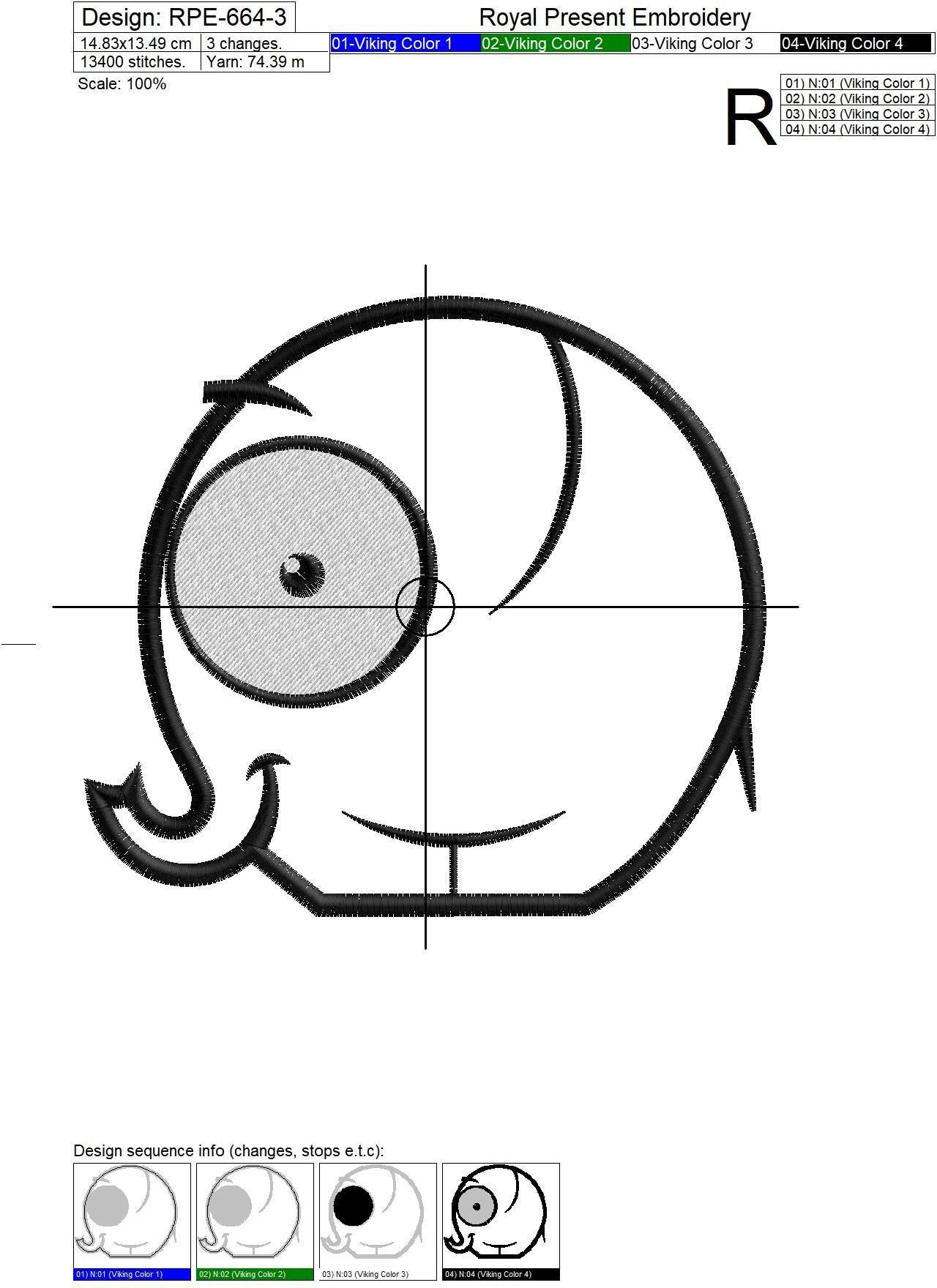 Дизайн машинной вышивки с аппликацией Слоник - 3 размера