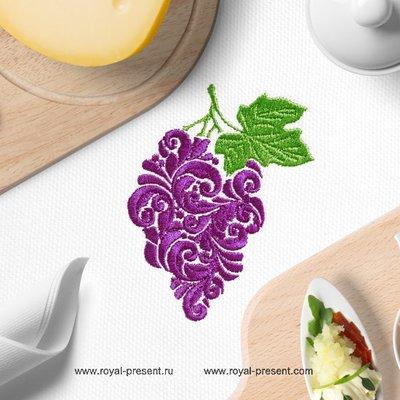 Витиеватый Дизайн машинной вышивки Гроздь Винограда - 2 размера