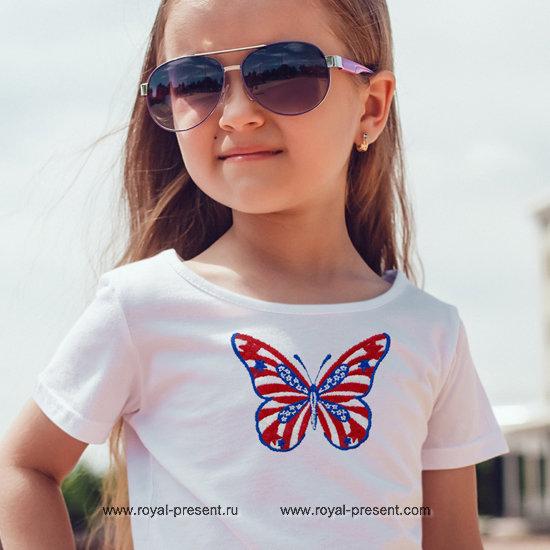 Дизайн машинной вышивки Бабочка флаг США - 2 размера RPE-1242