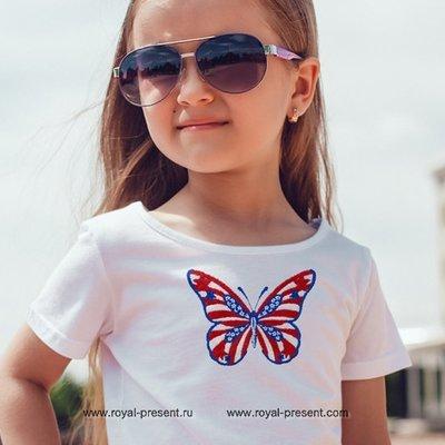 Дизайн машинной вышивки Бабочка флаг США - 2 размера