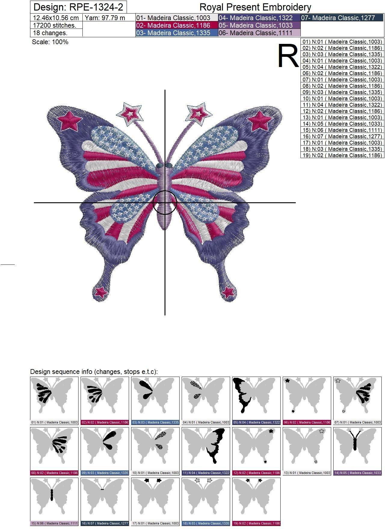 Бабочка флаг США Дизайн машинной вышивки - 2 размера