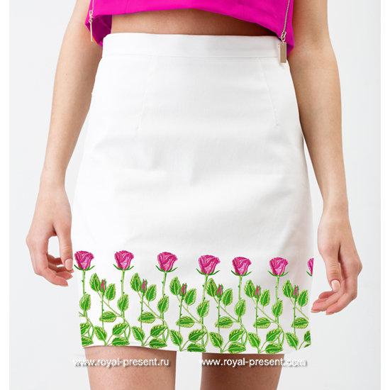 Дизайн для машинной вышивки Розы бордюр - 3 размера