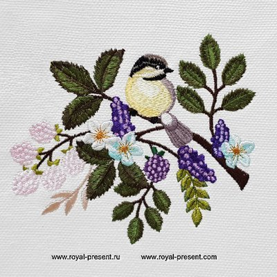 Синичка на веточке Дизайн машинной вышивки - 4 размера