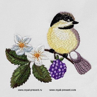 Дизайн машинной вышивки Птичка Синичка - 2 размера