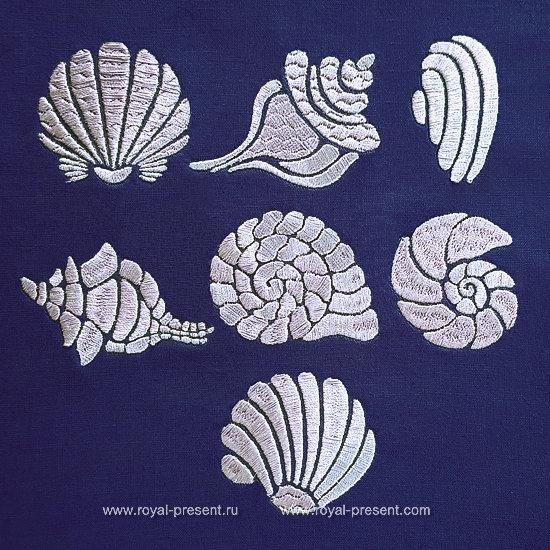 Мини Дизайны для машинной вышивки Морские ракушки RPE-1331
