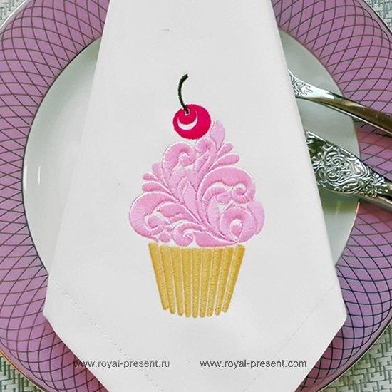 Дизайн машинной вышивки Орнаментальный кекс с вишенкой RPE-1332