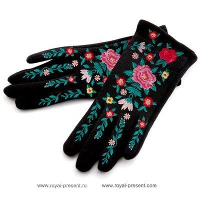 Дизайн машинной вышивки Цветы для перчаток