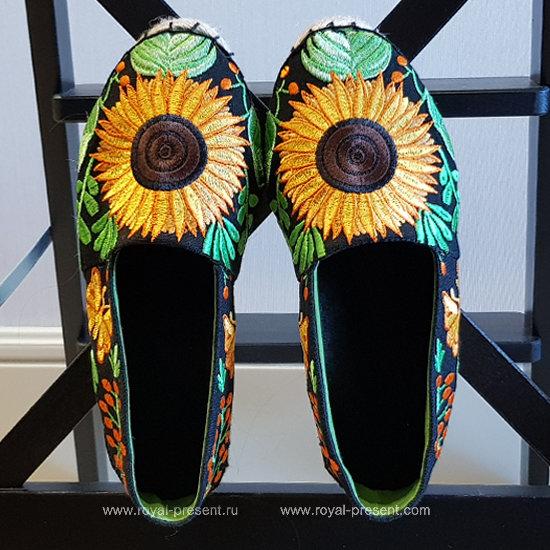 Дизайн машинной вышивки Эспадрильи с подсолнухами - 4 размера RPE-1330