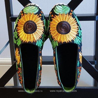 Дизайн машинной вышивки Эспадрильи с подсолнухами - 4 размера