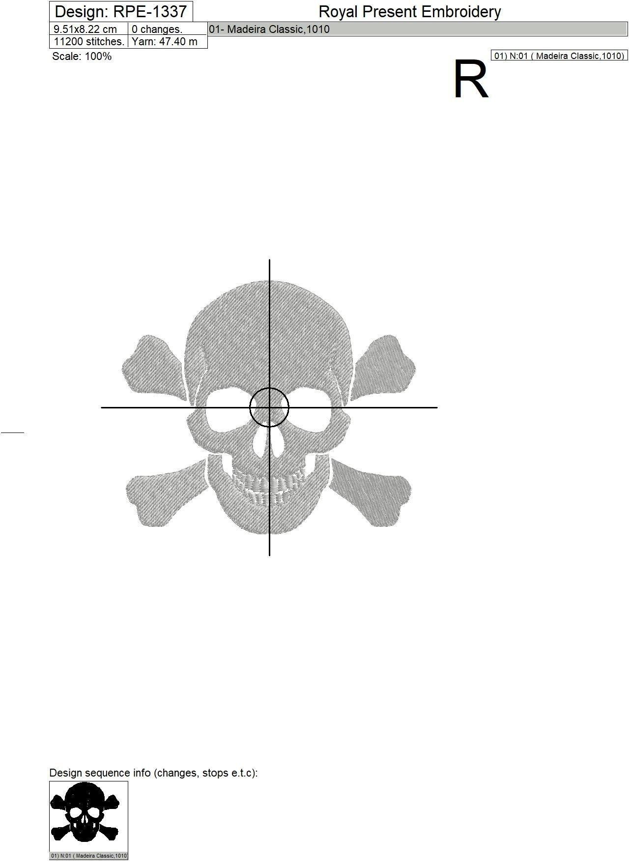 Бесплатный Дизайн машинной вышивки Череп и кости