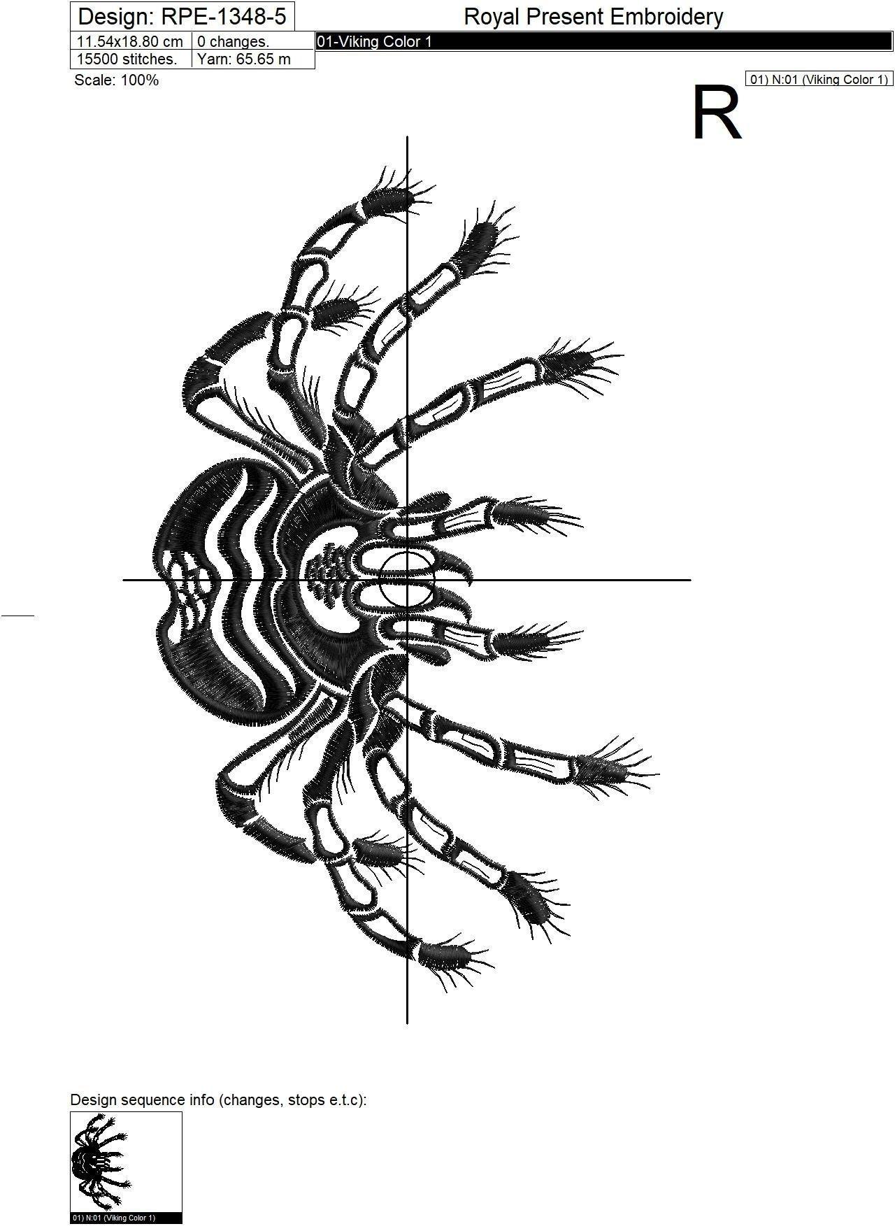 Дизайн машинной вышивки Паук Тарантул - 6 размеров