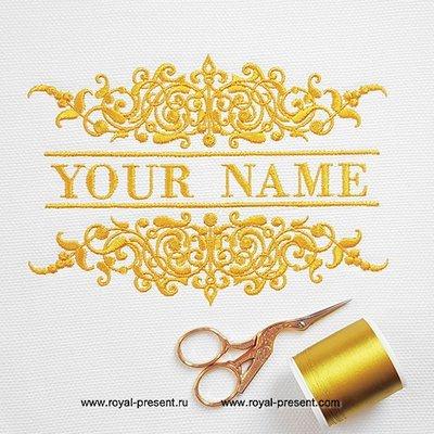 Классическое обрамление имени для машинной вышивки - 4 размера