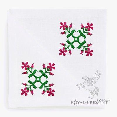Дизайн машинной вышивки Цветы для квилта - 2 размера