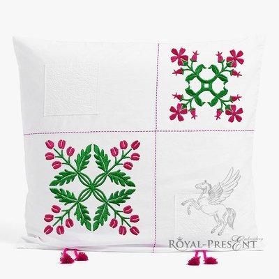 Два Дизайна машинной вышивки Цветочный орнамент - 4 размера