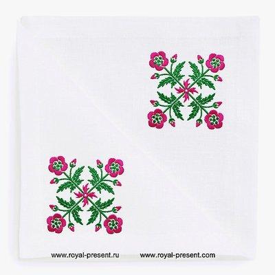 Схема машинной вышивки Цветы для квилта - 2 цвета