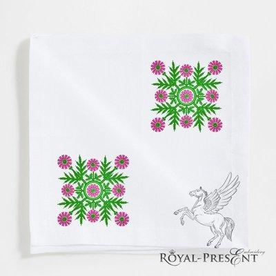 Фольклорный цветочный дизайн для машинной вышивки - 2 цвета