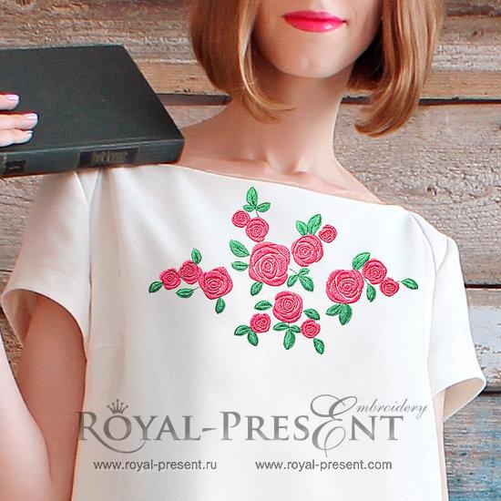 Четыре дизайна машинной вышивки Розы RPE-1364