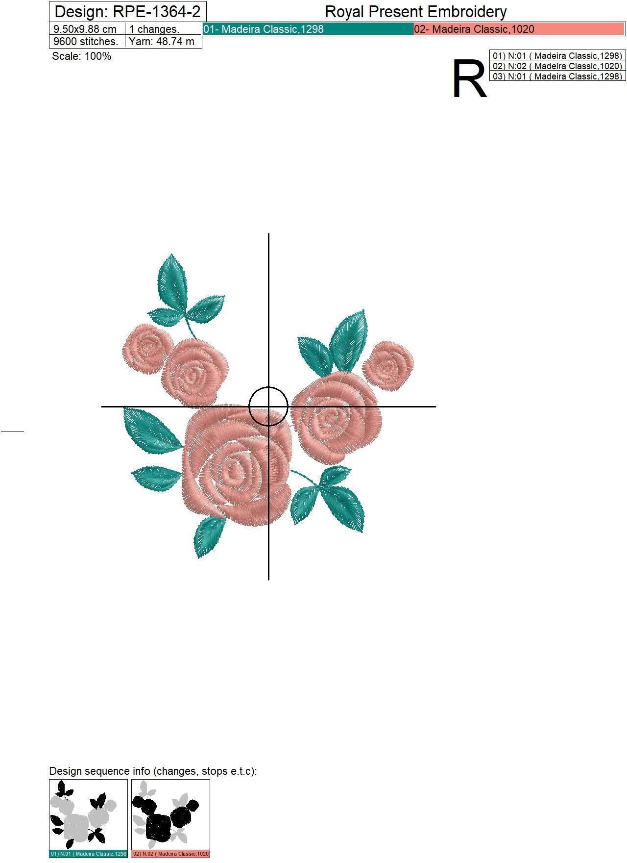 Четыре дизайна машинной вышивки Розы