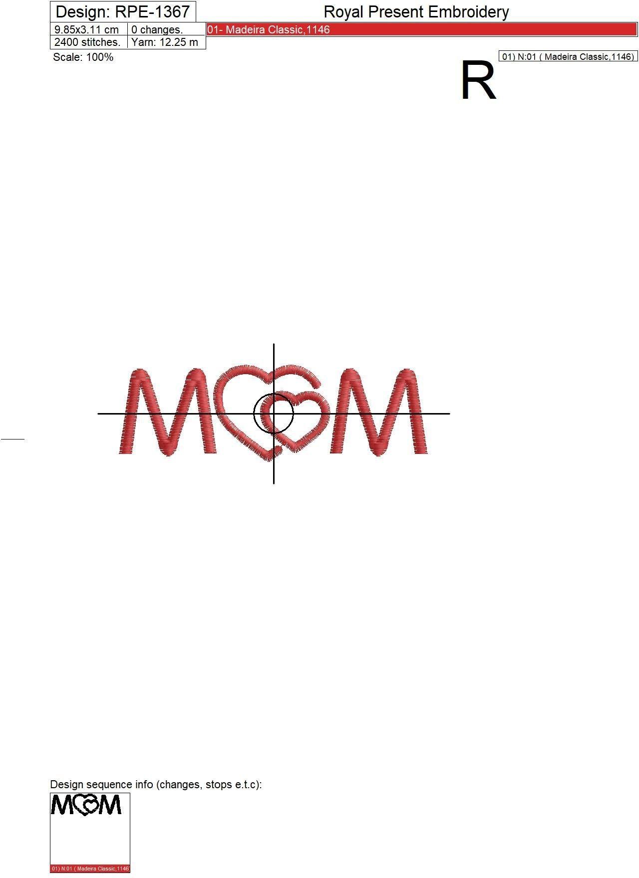 Бесплатный дизайн машинной вышивки День матери
