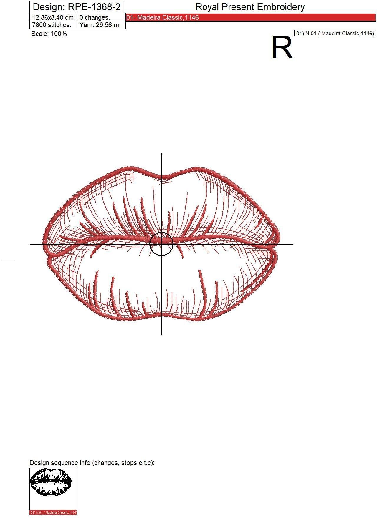 Дизайн машинной вышивки Контурные Губы - 8 размеров