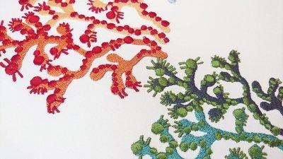 Дизайн машинной вышивки разноцветные кораллы - 4 размера
