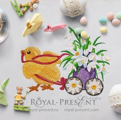 Дизайн машинной вышивки Цыпленок везет яйцо с цветами