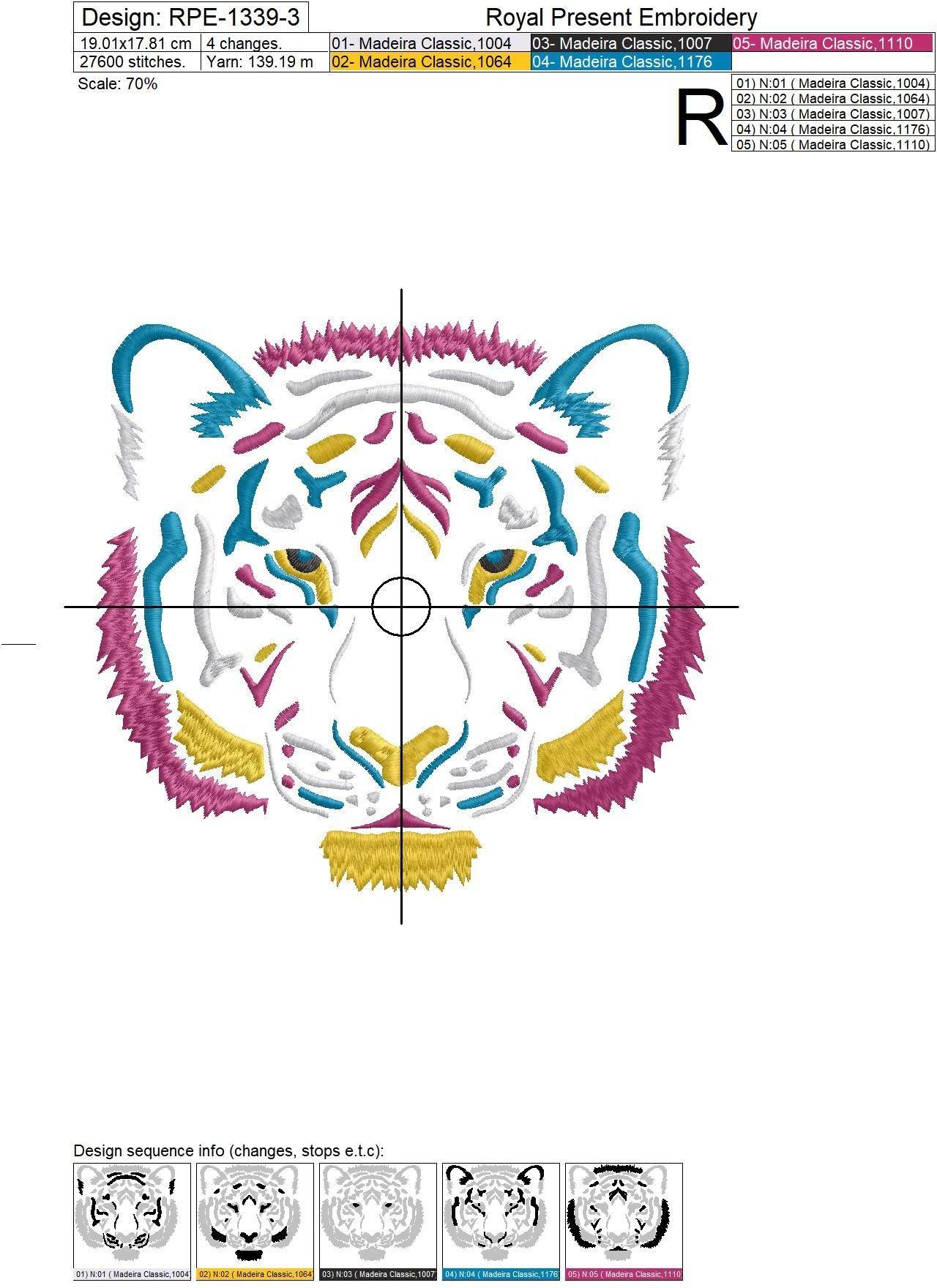 Дизайн машинной вышивки Цветной Тигр - 3 размера