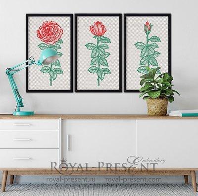 Дизайны машинной вышивки Триптих винтажные розы - 7 размеров