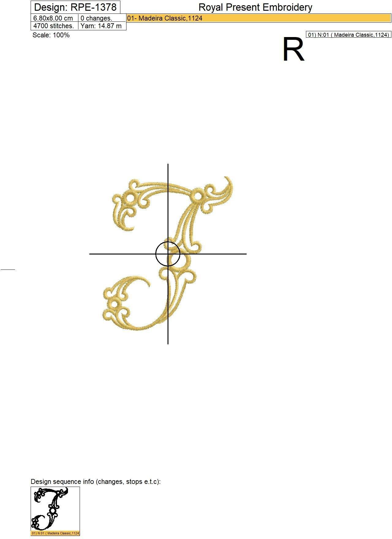 Дизайн машинной вышивки Заглавная буква T