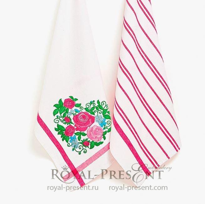 Сердце из роз Дизайн машинной вышивки - 4 размера RPE-1377