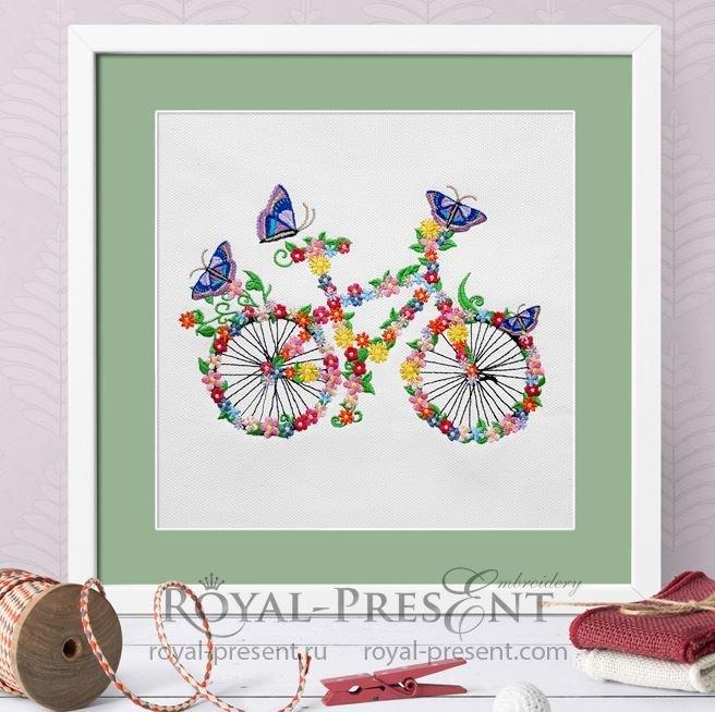 Дизайн машинной вышивки Цветочный велосипед с бабочками - 5 размеров RPE-1376