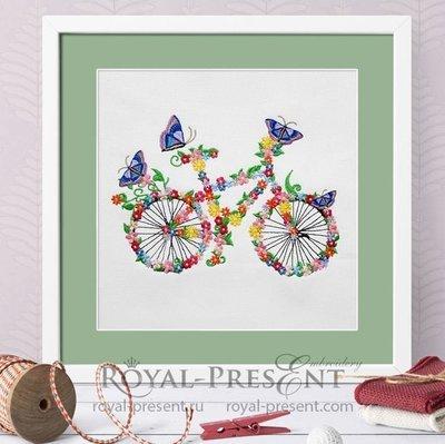 Дизайн машинной вышивки Цветочный велосипед с бабочками - 5 размеров