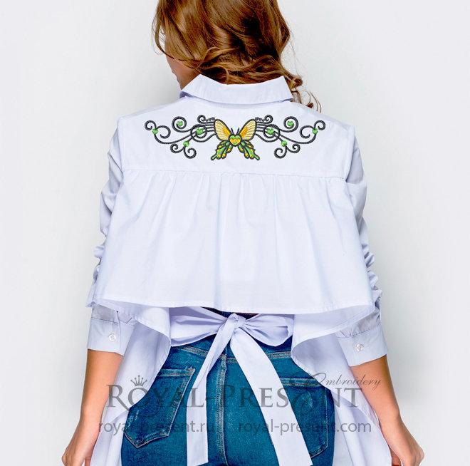 Дизайн для машинной вышивки Бабочка в тату стиле - 4 размера RPE-1380