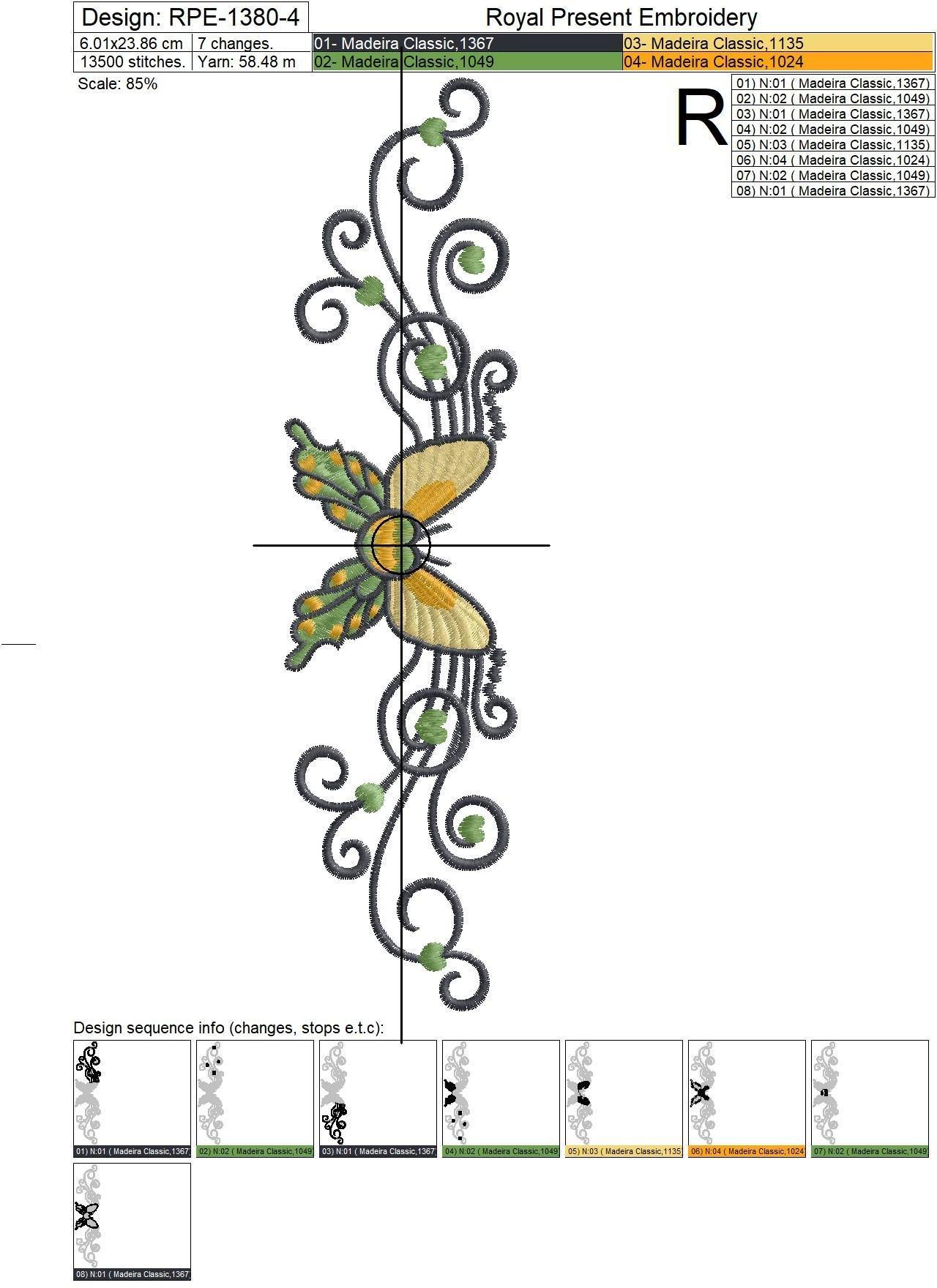 Дизайн для машинной вышивки Бабочка в тату стиле - 4 размера