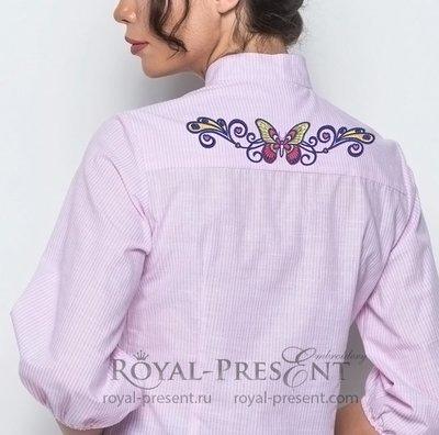 Дизайн машинной вышивки Бордюр Бабочка в тату стиле - 4 размера